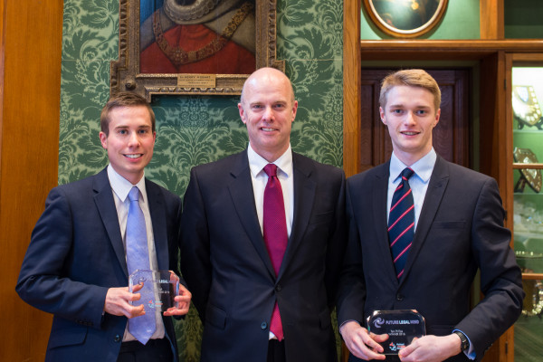 George Dick (left) and Tom Phillips (right) receive their awards from Simon Trott