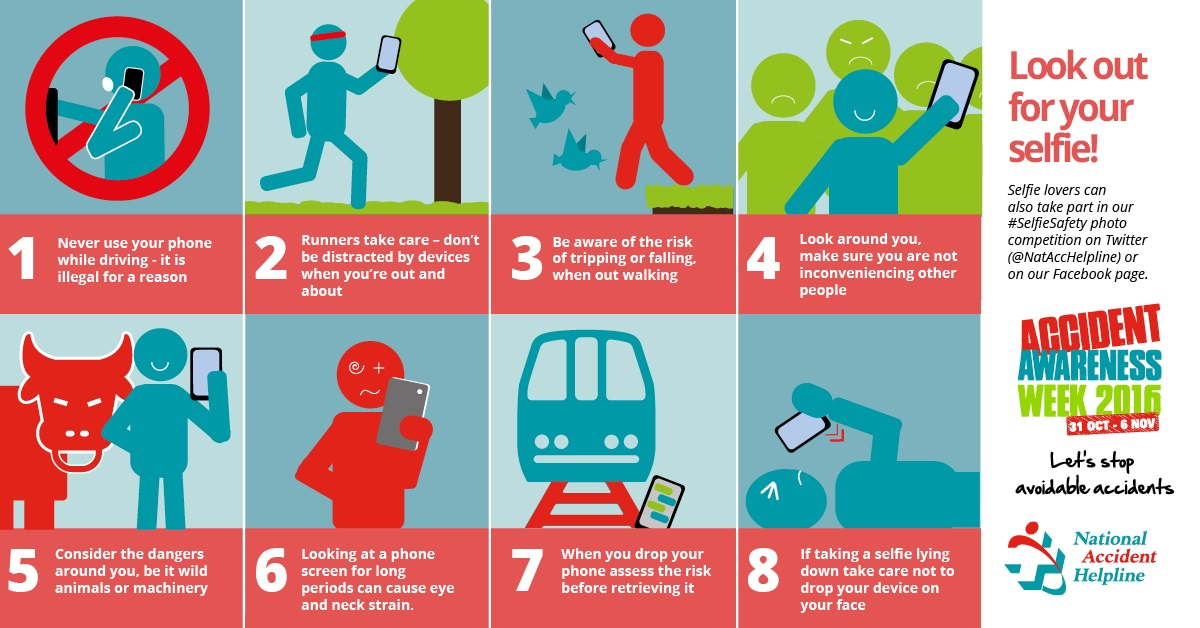One in nine 16 to 24 year olds have hurt themselves whilst taking a selfie infographic